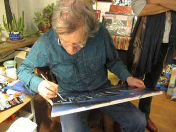 Philip Trussell Painting in His Studio, March, 2011