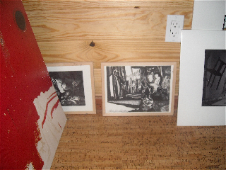 The Upstairs loft of the library has 6? pieces from Philip's Projex Gallery show